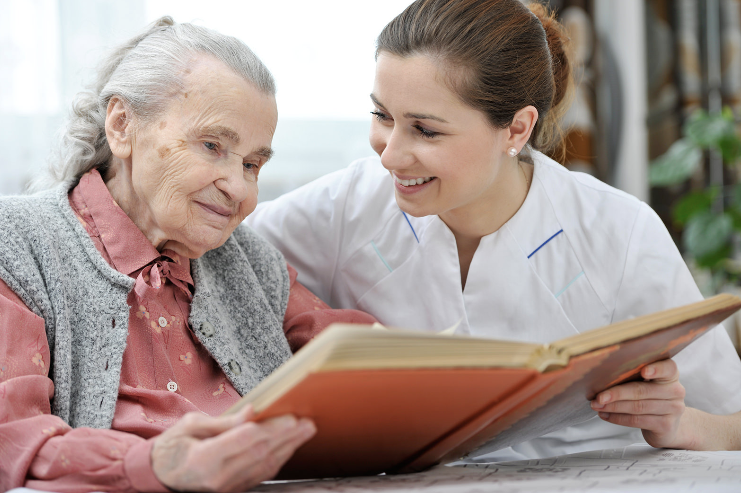 caregiver duties- caregiver and elderly reading books